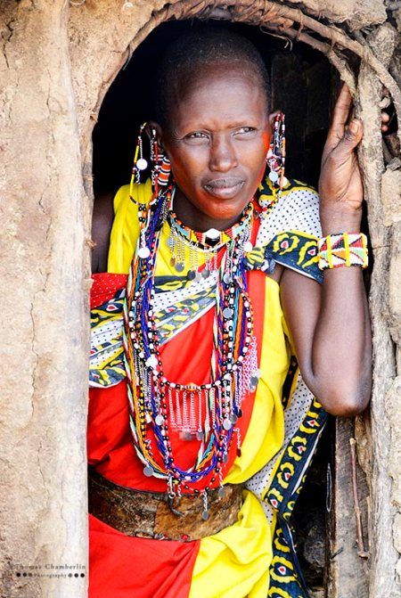 Maasai Woman in Doorway